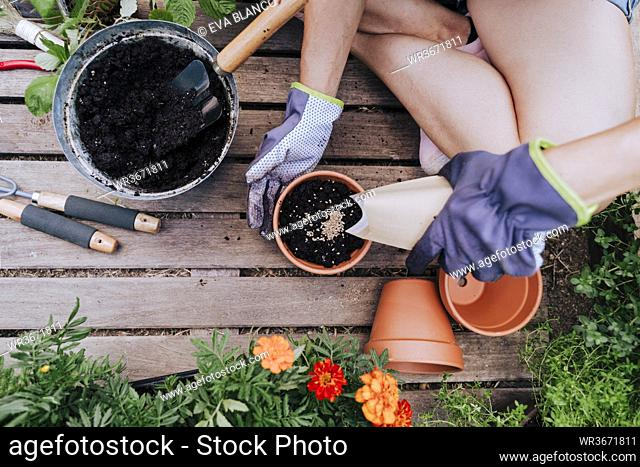 Mid adult woman planting seeds in flower pot while sitting at vegetable garden