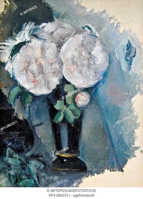 Paul Cezanne . Fleurs dans un vase bleu. 1880 . Musée de l'Orangerie - Paris