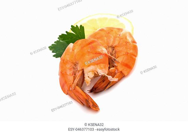 boiled shrimp on white background