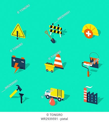 Various icons related to industry