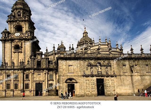 Way of St. James, Jacobean Route. Old town of Santiago de Compostela. Quintana de Vivos Square. San Paio de Antealtares monastery. St. James's Way, St