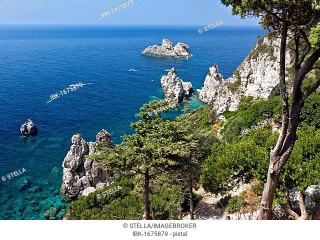 Wildly romantic coast near Paleokastritsa, Corfu Island, northwestern Corfu, Ionian Islands, Greece, Southern Europe