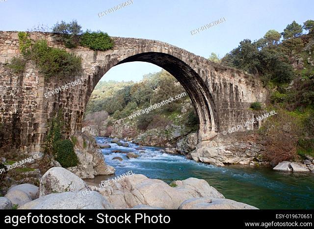 Big bridge with waterfall