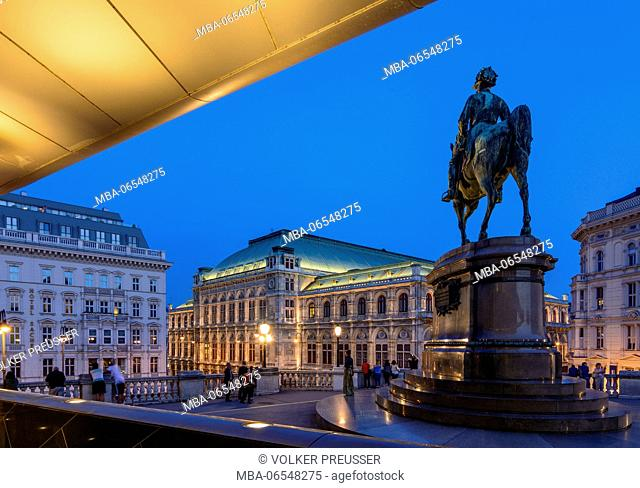 Staatsoper (State Opera), equestrian statue of Archduke Albrecht and Soravia Wing of Albertina, Wien, Vienna, 01. Old Town, Wien, Austria