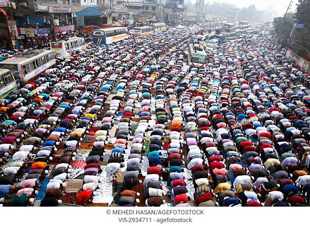 Muslim devotees offer Jumma prayers while attending the World Muslim Congregation, also known as Biswa Ijtema, at Tongi, on the outskirts of the Bangladesh...
