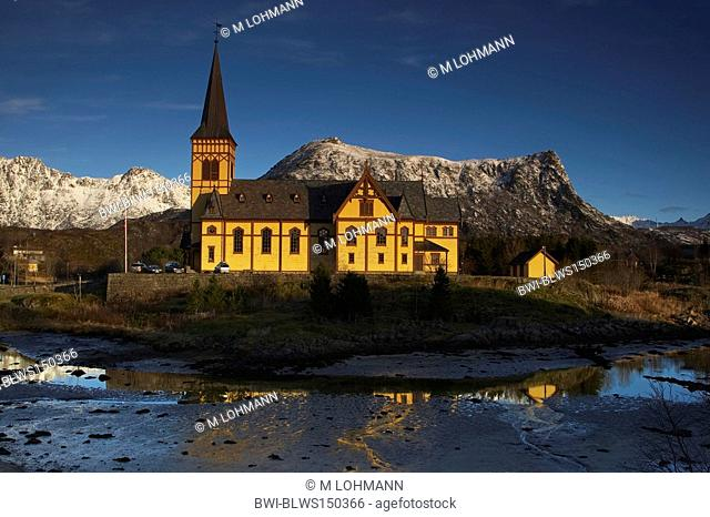 Vagan Kirke, Lofoten cathedral, Norway, Lofoten Islands, Vagan, Kabelvag