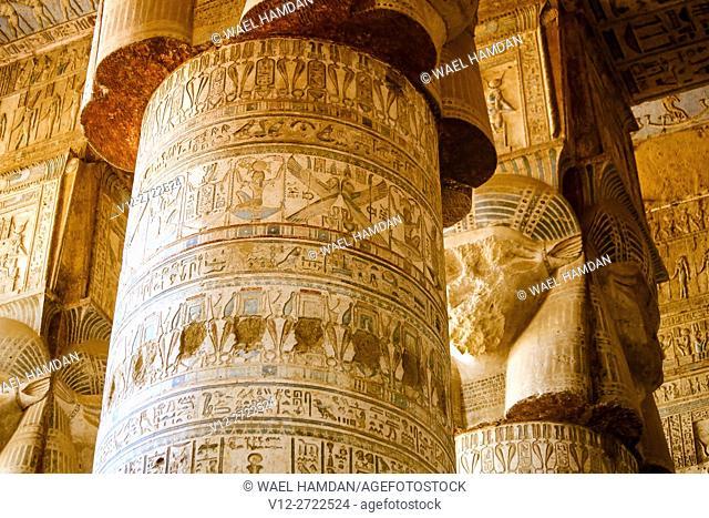 Temple of Hathor Dandarah or Dendera, Ptolemaic period, 1st century b.C. relief scene, Qena, Egypt