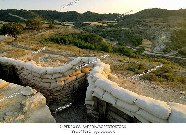 'Orwell' Trench reconstructed of the Spanish Civil War. Sierra de Alcubierre, Alcubierre, Huesca, Aragon, Spain