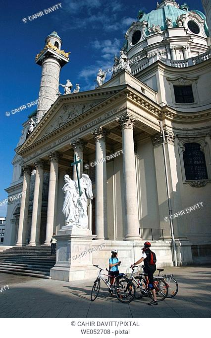 The columns, cupola and main entrance of Karlskirche or Karl's Church in Vienna, Wien, Austria