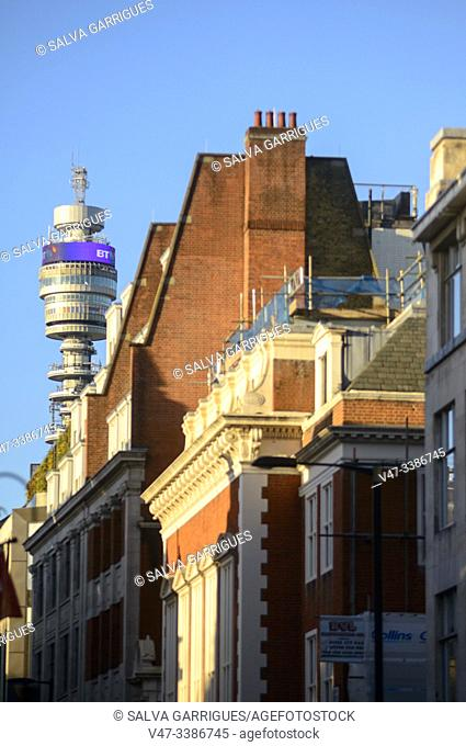 Buildings on Fitzrovia Street and the BT Tower, London