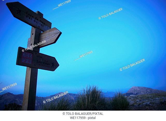 Puig d'en Galileu 1181m and Puig Tomir 1102m long distance footpath GR 221 Escorca Sierra de Tramuntana Majorca Balearic Islands Spain