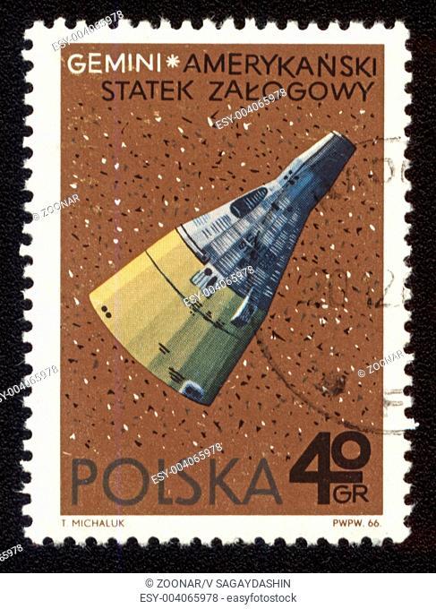 Postage stamp printed in Poland shows american spaceship Gemini