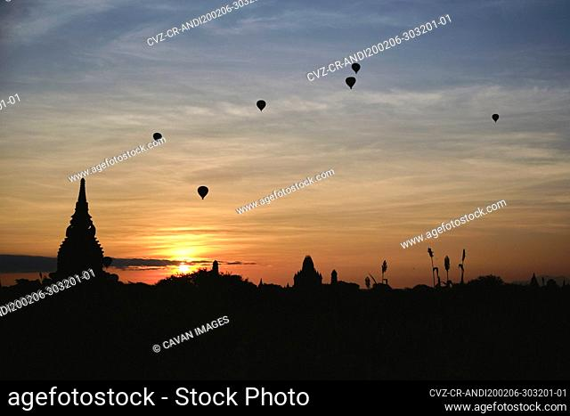 Hot Air Balloons During Sunrise Over The Temples in Bagan, Myanmar