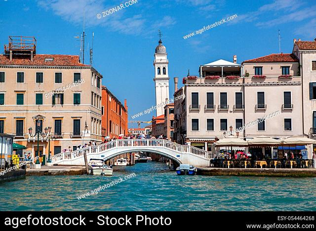 Beautiful Grand Canal in Venice. Gorgeous bridge and tower on background. Italy