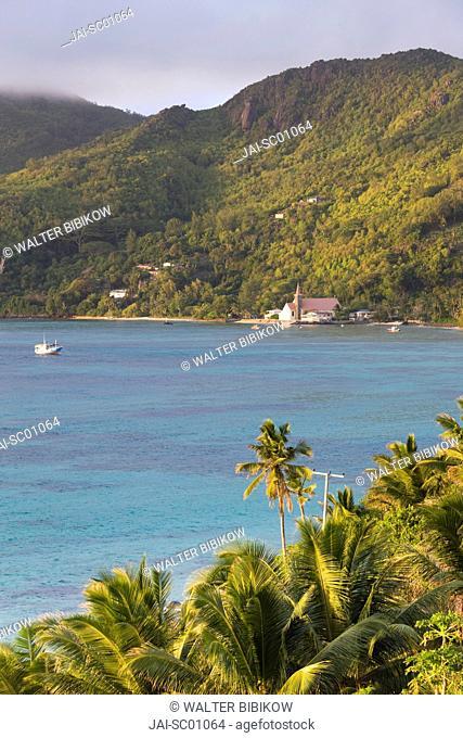 Seychelles, Mahe Island, Anse Royale, Town Church and palms, morning