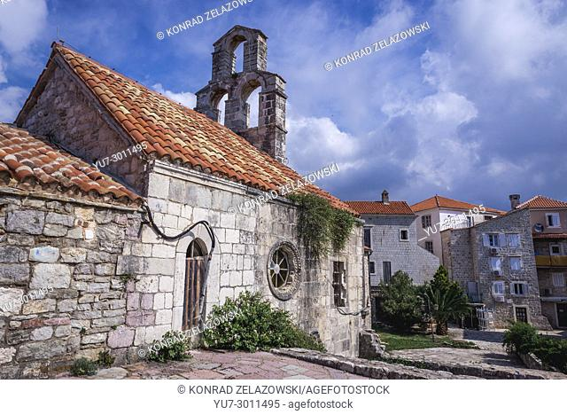 Side view of Church of Santa Maria in Punta on the Old Town of Budva city on the Adriatic Sea coast in Montenegro