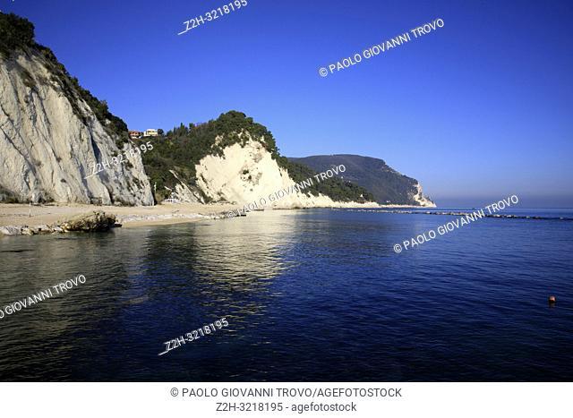 Numana beach, Riviera del Conero, Adriatic Sea, Numana, Ancona, Marche, Italy
