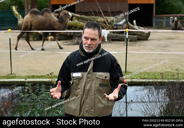 13 February 2020, Hessen, Frankfurt/Main: Miguel Casares, Director of Frankfurt Zoo, attends the presentation of a new camel at the zoo