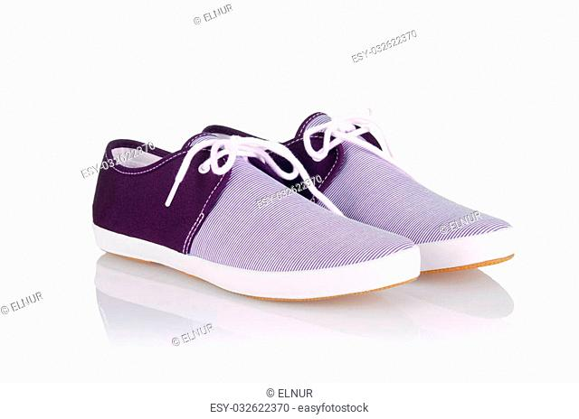 Sporty shoes in sport shoes concept on white