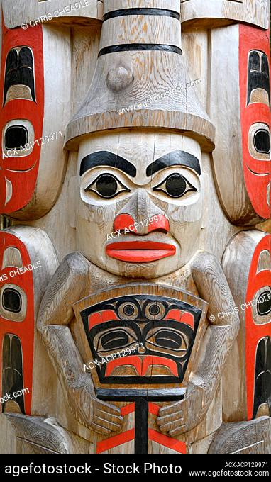 gyaaGang Monumental Pole, by Christian Whaite and helpers, Hiellen River, Haida Gwaii, Formerly known as Queen Charlotte Islands, British Columbia, Canada