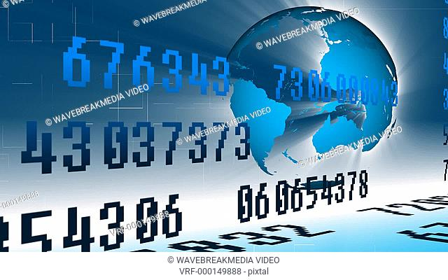Animation of worldwide stock market with the Planet turning and numbers and graphs changing