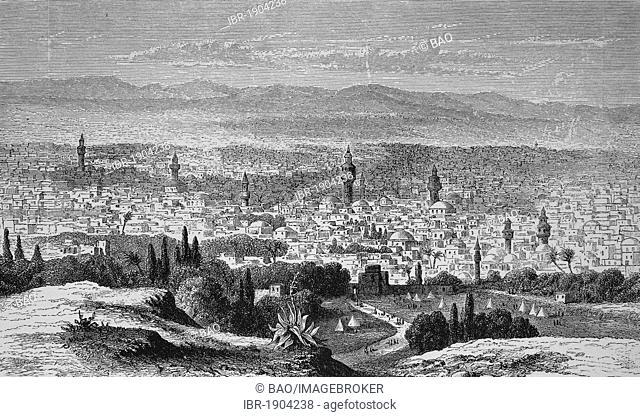 Damascus, Syria, historical woodcut, 1870