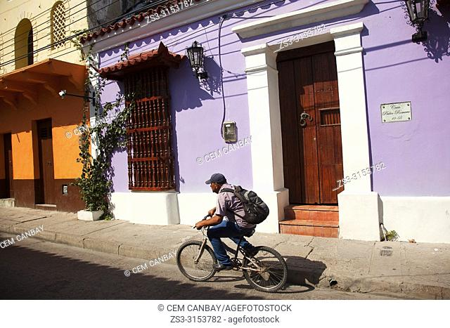 Cyclist in front of the colorful colonial buildings at the historic center, Cartagena de Indias, Bolivar Region, Colombia, South America