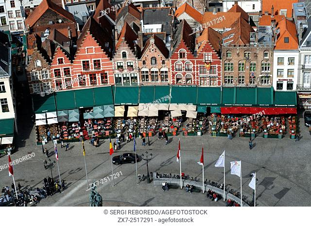 Brugge markt aereal view. The Markt Market Place, view from the Belfry Brugge,the Venice of the North Western Flanders Belgium