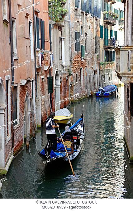 Venice Italy Castello a small canal with gondola