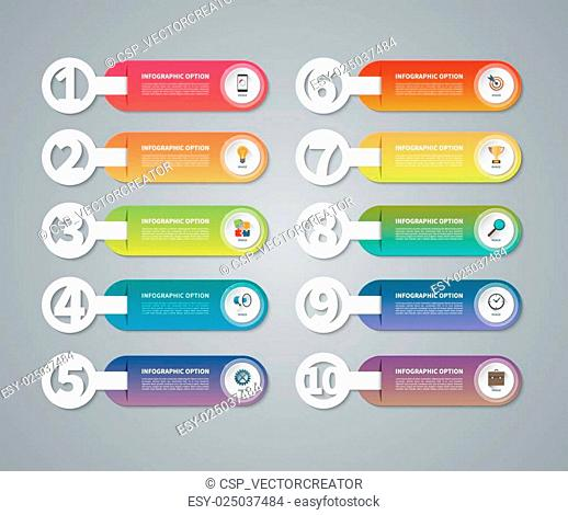 Set of vector infographic numbered banners