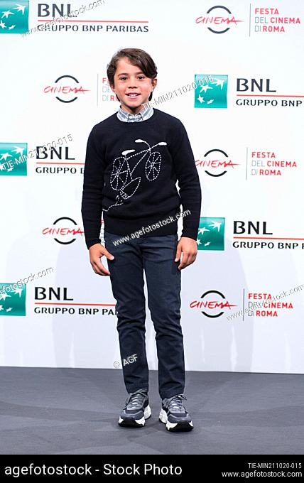 """Federico Ielapi attend the photocall of the movie """"""""Maledetta Primavera"""""""" during the 15th Rome Film Festival on October 21, 2020 in Rome, Italy"""