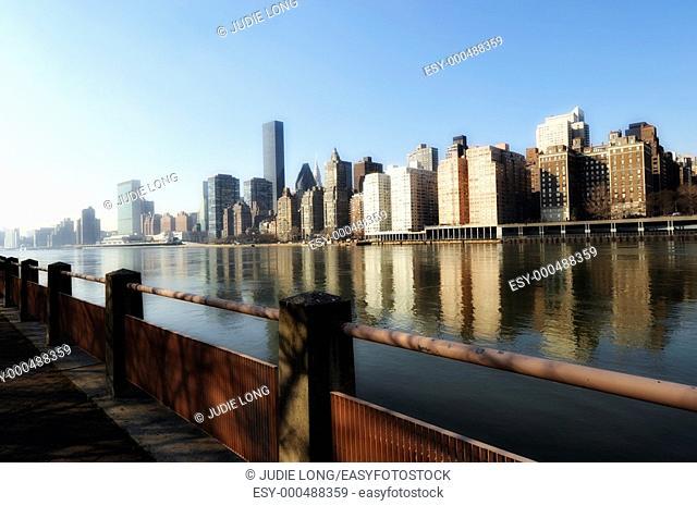 East River and East Side Skyline, New York City, NY, USA