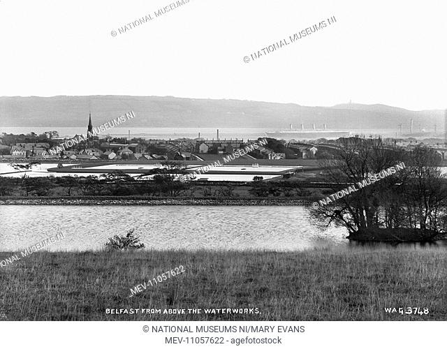 Belfast from Above the Waterworks - a general panorama of the city with the waterworks in the foreground. (Location: Northern Ireland: County Antrim: Belfast)