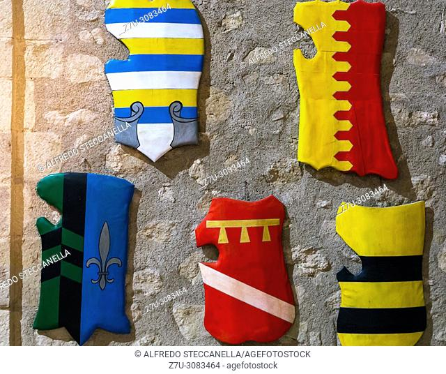 Messina (Italy): the medieval shields inside an ancient castle