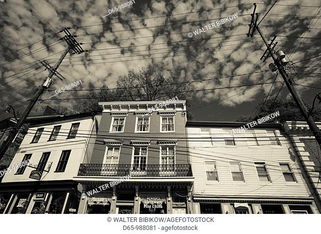 USA, Maryland, Ellicott City, former mill town, now antique center
