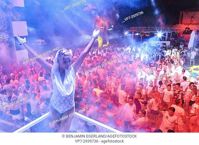 dancer at music festival. Estonian ethnicity. In holiday destination Hersonissos, Crete, Greece