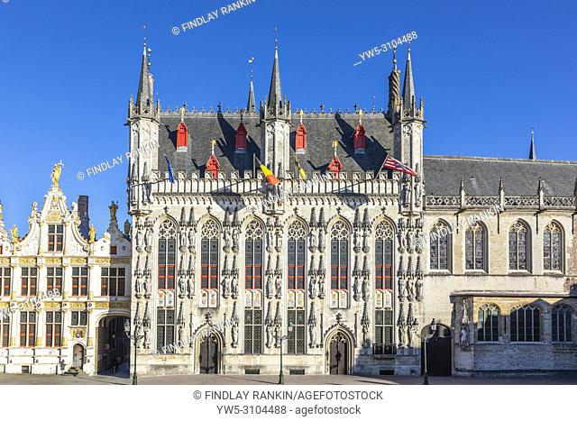 18th century Flemish Renaissance architecture on the buildings that were used for law courts and city council buildings, Burg, Bruges, Belgium