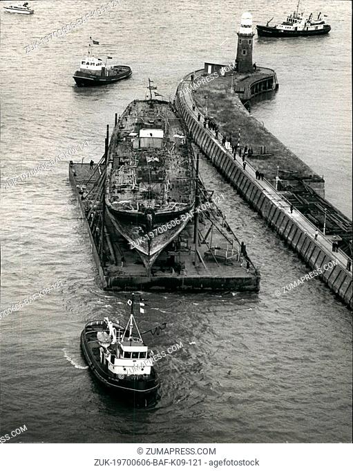 Jun. 06, 1970 - 'Great Britain' Arrives Home After 8,000 Mile Sea Tow From The Falkland Islands: The S.S. Great Britain is Rome agonist for the first time in...