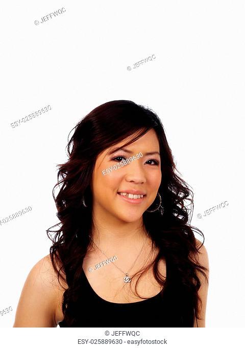 Smiling Portrait Asian American Woman Black Top