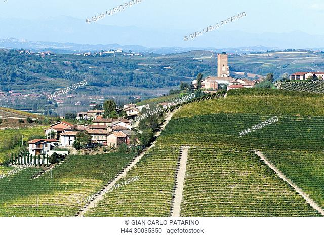 Italy, panorama of vineyards of Piedmont Langhe-Roero and Monferrato on the World Heritage List UNESCO. Landscape in autumn near Barbaresco Italy, Piedmont