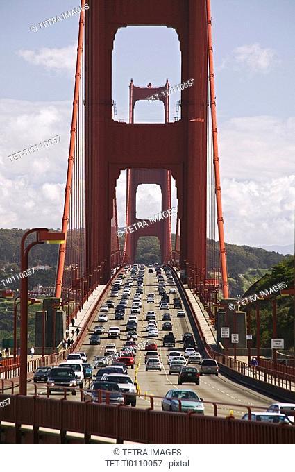 Traffic on the Golden Gate Bridge San Francisco California USA