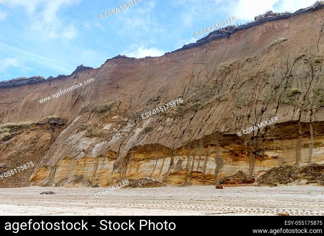 dune destroyed by the storm surge on the island of Sylt