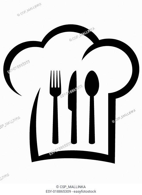 black restaurant icon with chef hat