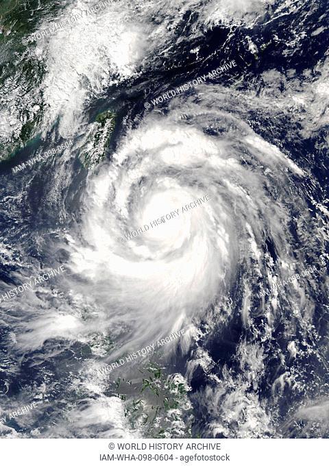 Typhoon Meranti reaching its peak intensity east of Batanes, Philippines on September 13, 2016