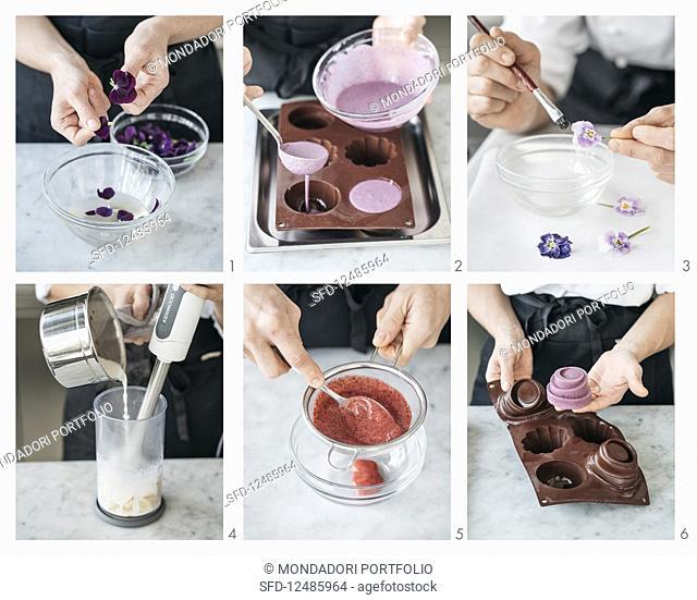 Preparing Bavarese alle violette on Namelaka