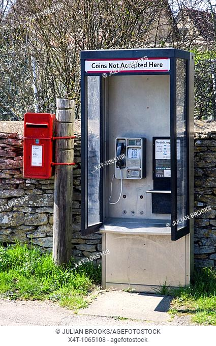 A rural phone box and post box in the cotswolds