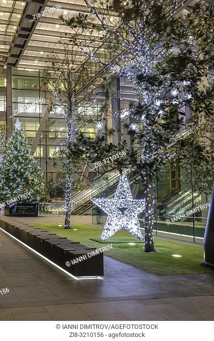 England, City of London, Festive light display, Leadenhall Building, Leadenhall Street