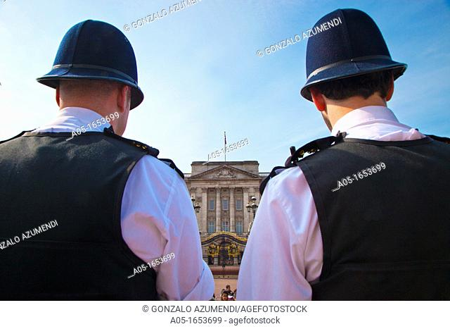 Bobbies at Buckingham Palace, Westminster, London,England,United Kingdom