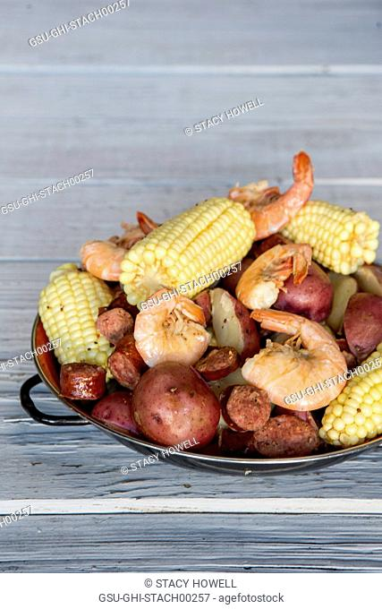 Low Country Boil with Shrimp, Corn, Sausage and Potatoes on Plate