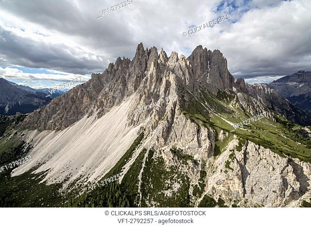 Dolomite peaks of Cadini seen from the helicopter. Cortina d'Ampezzo. Dolomites. Veneto. Italy. Europe